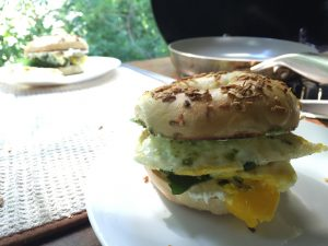 Bethany craft egg sandwiches with lamb's quarters and garlic scape pesto from the tasty bagels at Baked in Telluride.
