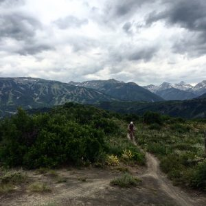 Clouds roll in and the bikes are about to get muddy on Snowmass Village's beautiful Rim Trail.