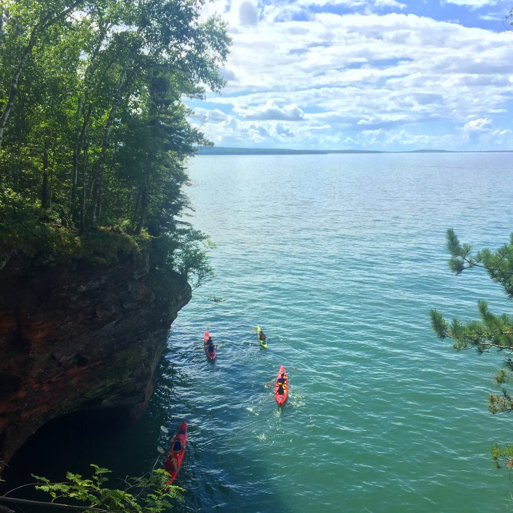 Visiting the sea caves of the Apostle Islands in northern Wisconsin en route to Glacier National Park (mid-August).